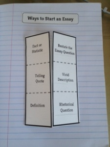 Ways to Start an Essay Foldable