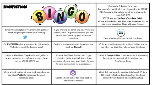 NonFiction Bingo Image