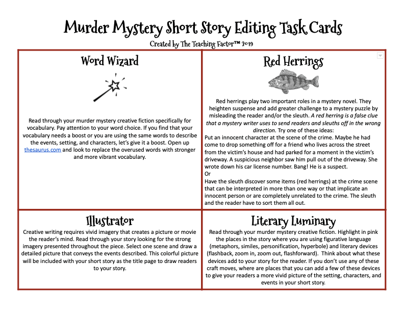 Murder Mystery Short Story Editing Task Cards | The Teaching Factor