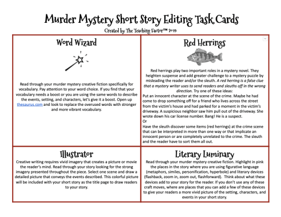 Murder Mystery Short Story Editing Task Cards