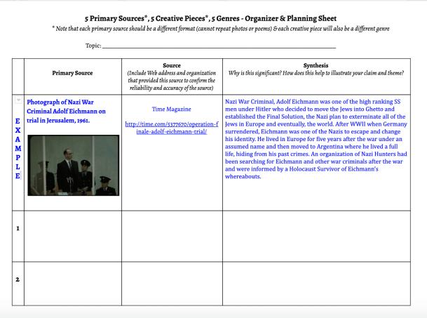 Multigenre Organizer & Planning Sheet