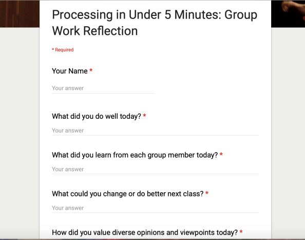 Group Work Processing Questionnaire