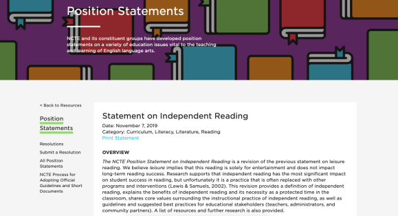 NCTE's Position Statement on Independent Reading