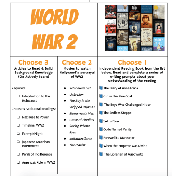 WW2 Reading Choices