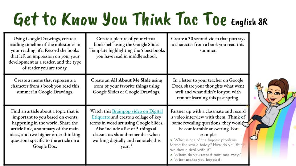 Get To Know You Think Tac Toe